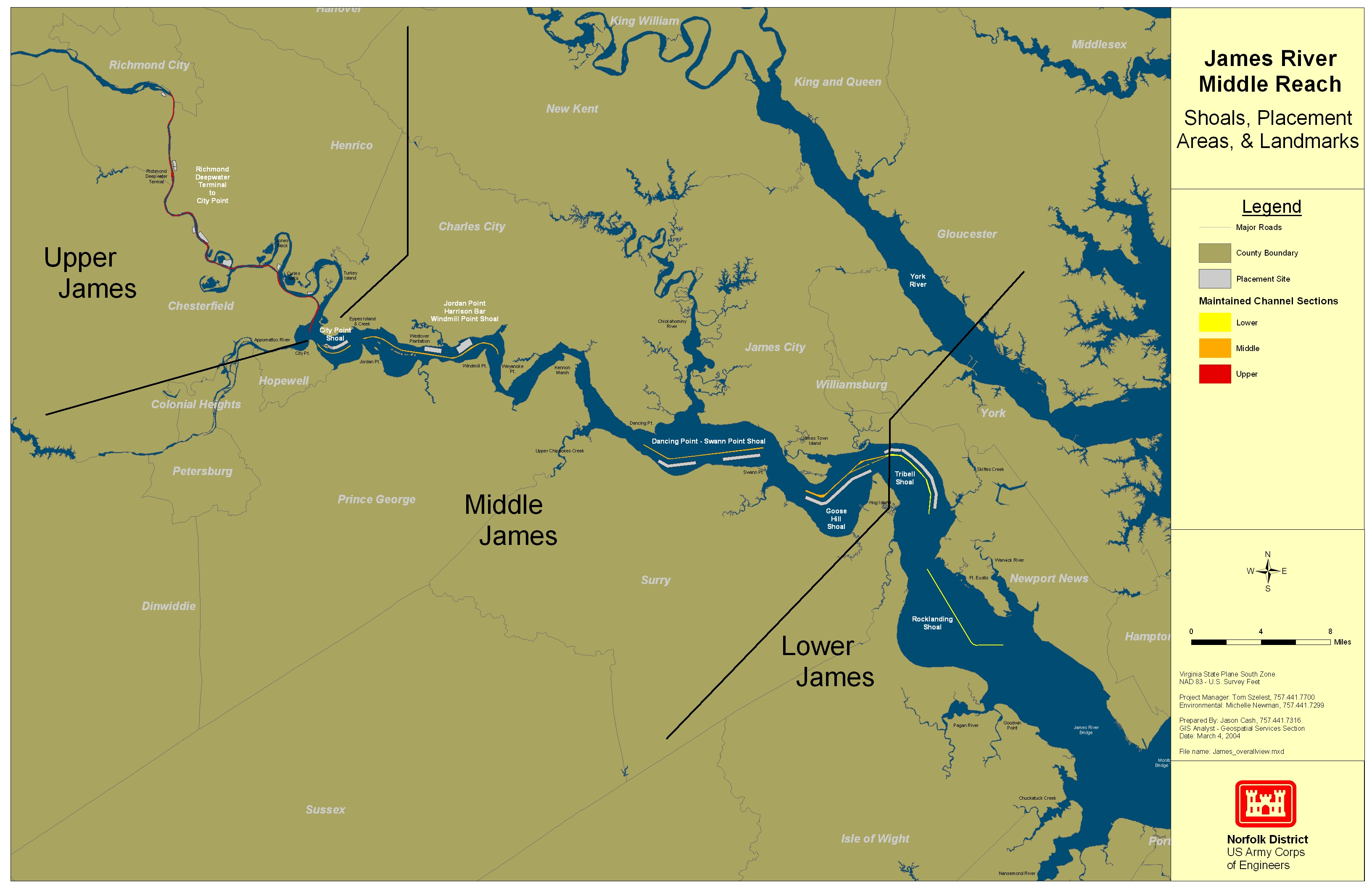 A map of the James River Channel showing the lower, middle and upper reaches.