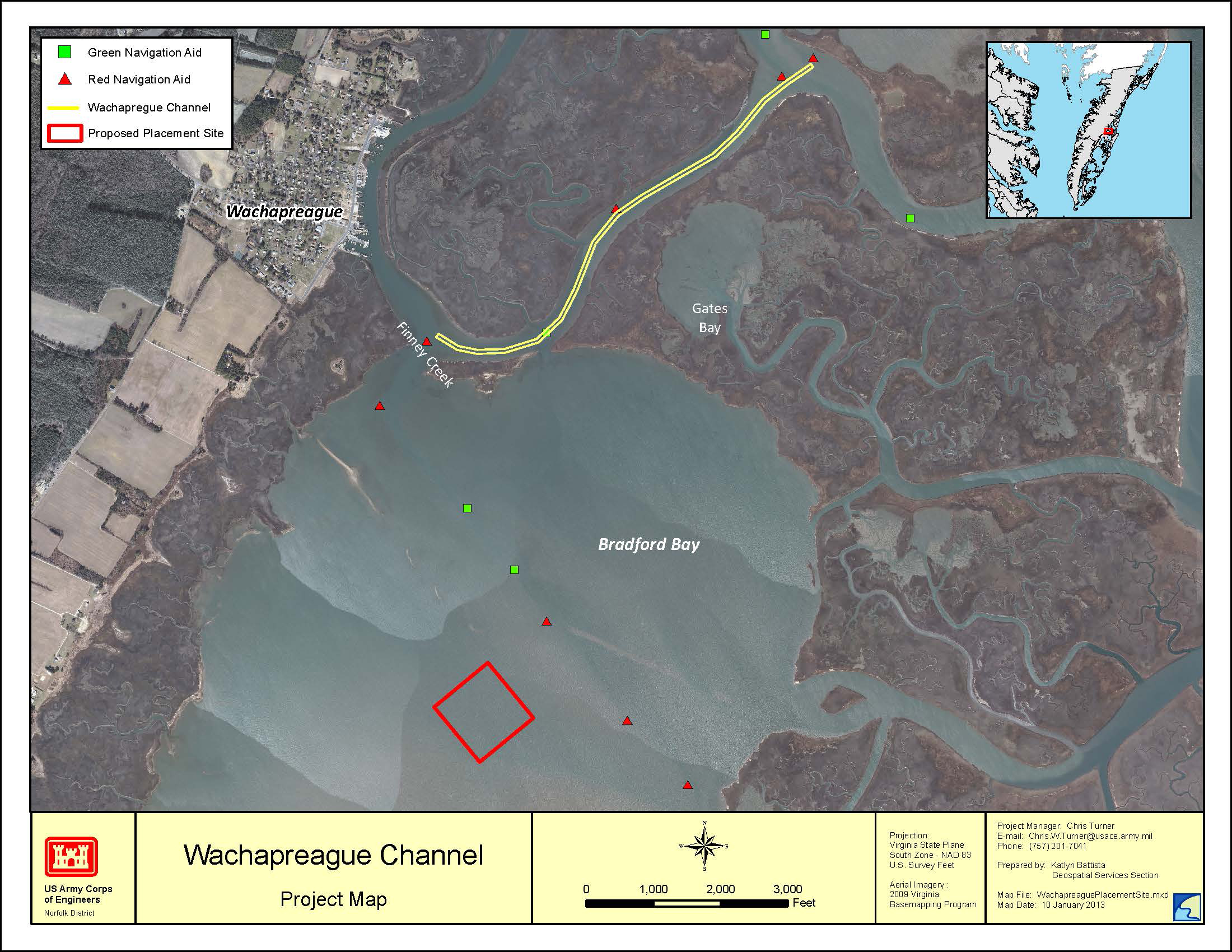 Map of Wachapreague channel dredging