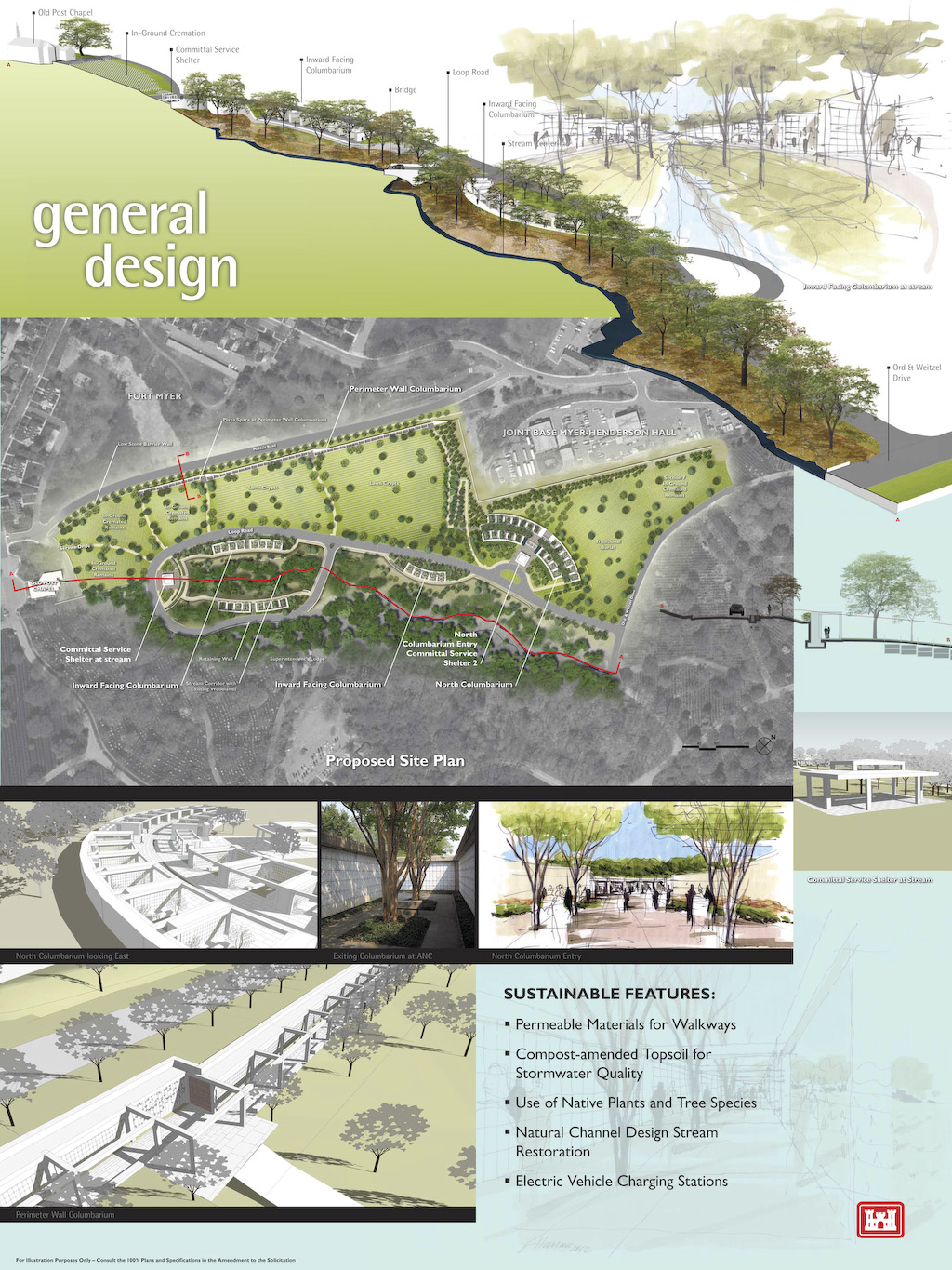 An artist rendition of the general design for the Arlington National Cemetery's Millennium Project. The project will add 30,000 additional burial and niche spaces to the cemetery