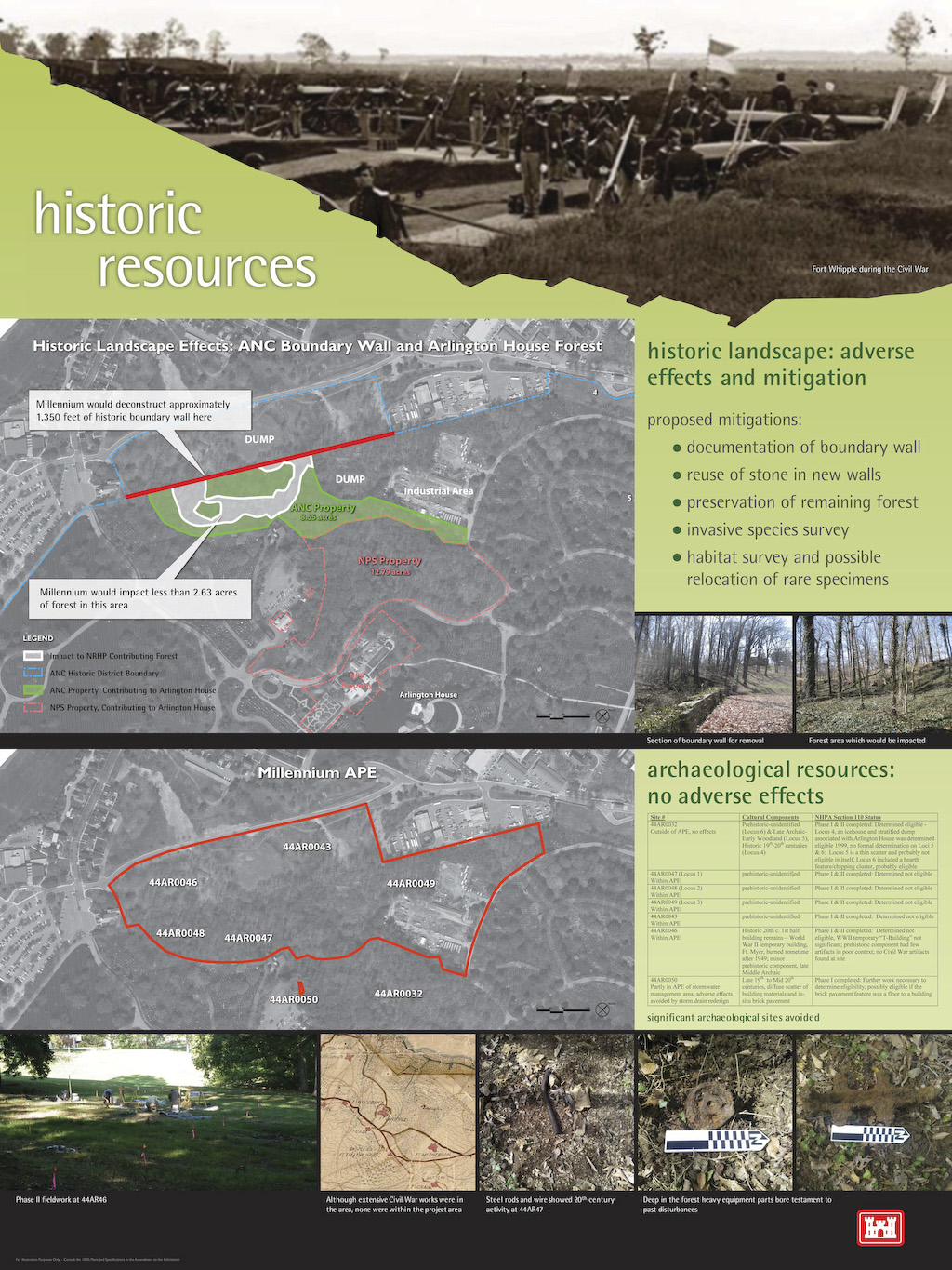 A graphic overview of the historic resources located within the boundaries of Arlington National Cemetery's Millennium Project. The project will add 30,000 burial and niche spaces to the cemetery.