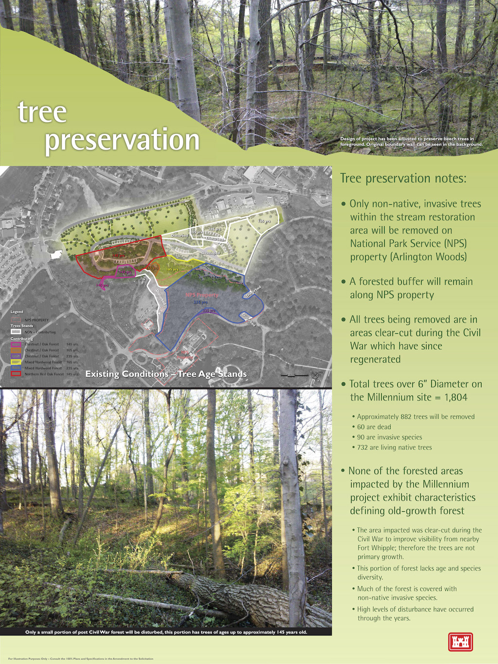 A graphic overview depicting the trees currently located within the boundaries of Arlington National Cemetery's Millennium Project. The project has 1,804 trees, with 6 inches or greater diameter, located on site; 732 living native trees have been identified for removal.