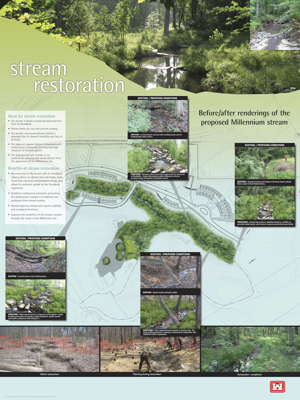 A graphic overview of the stream restoration that will take place as part of the Arlington National Cemetery's Millennium Project.