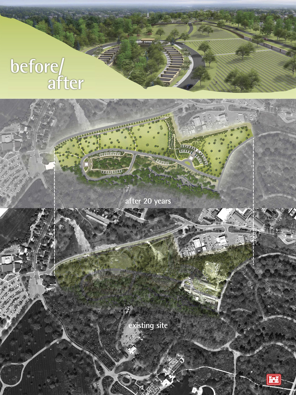 A graphic showing the environment assessment for the Arlington National Cemetery Millennium Project